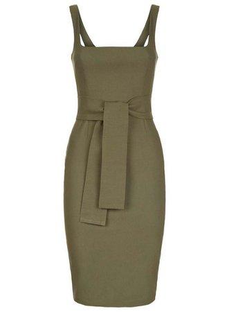 *Vesper Khaki Tie Belt Pencil Dress | Dorothy Perkins