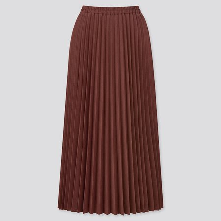 WOMEN ACCORDION PLEATED LONG SKIRT | UNIQLO US brown