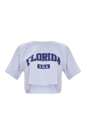 Grey Marl Florida Usa Crop T Shirt | Tops | PrettyLittleThing USA