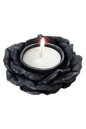 Black Rose T-Light Holder by Alchemy Gothic | Gifts & ware