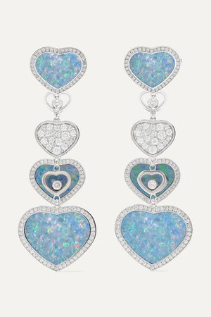 Chopard | Happy Hearts 18-karat white gold, diamond and opal earrings | NET-A-PORTER.COM