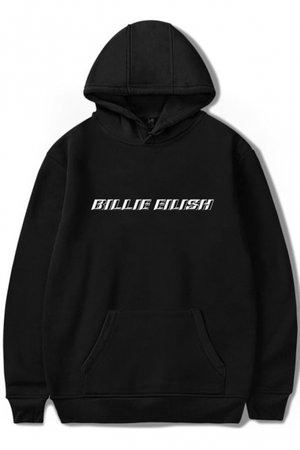 Simple Letter BILLIE EILISH Printed Long Sleeve Relaxed Fit Hoodie - Beautifulhalo.com