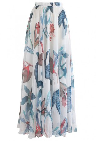 Tropical Floral Watercolor Maxi Skirt in White - Retro, Indie and Unique Fashion