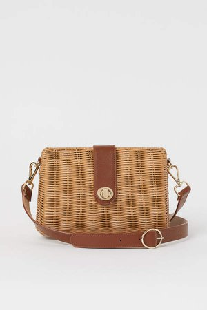 Rattan Shoulder Bag - Beige