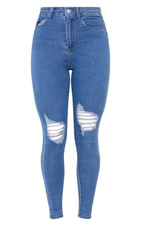 Plt Light Wash Knee Rip 5 Pocket Skinny Jean | PrettyLittleThing