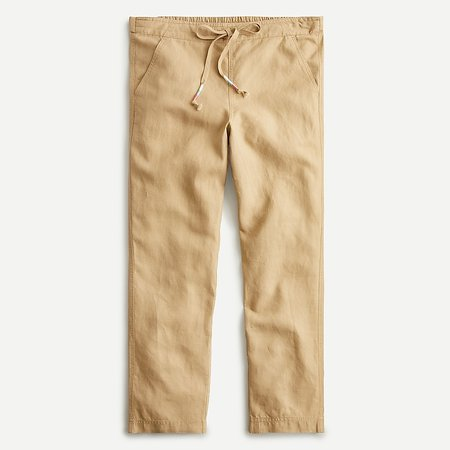 J.Crew: Tie-waist Seaside Pant In Linen Blend For Women camel