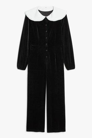 Big collar jumpsuit - Black - Jumpsuits - Monki