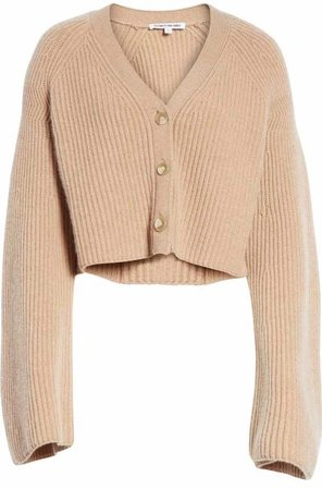 ELIZABETH AND JAMES Cabot cropped ribbed merino wool and cashmere-blend cardigan