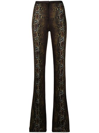 Shop brown & black Versace snakeskin-print trousers with Express Delivery - Farfetch