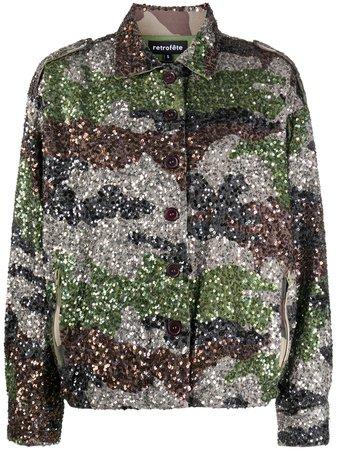 Retrofete Sequinned Camouflage Print Shirt Jacket - Farfetch