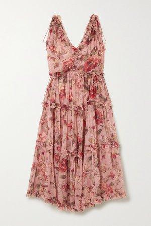 Antique rose Cassia ruffled floral-print silk-crepon midi dress | Zimmermann | NET-A-PORTER