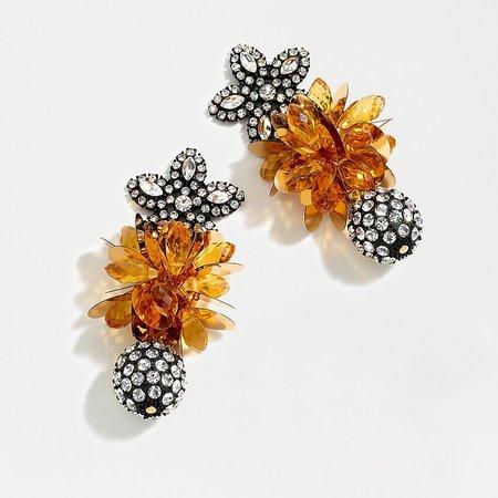 J.Crew: Pavé Floral Cluster Drop Earrings