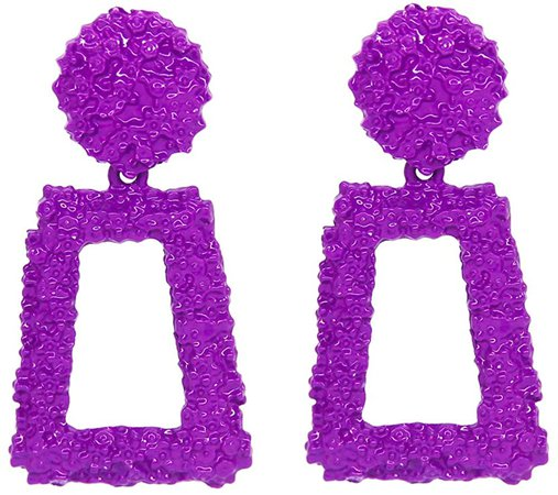 Amazon.com: Purple Metallic Raised Design Rectangle Statement Earrings Fashion Jewelry KELMALL COLLECTION: Clothing
