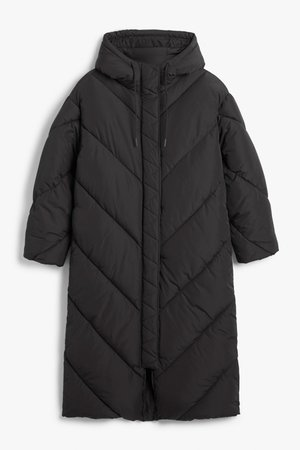 Long puffer coat - Black - Coats - Monki