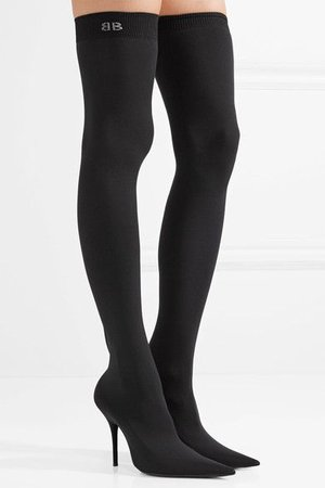 BALENCIAGA Stretch-knit over-the-knee black boots