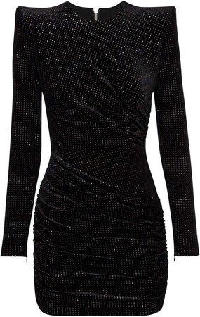 Alex Perry Raine Glittered Velvet Mini Dress