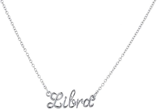 Amazon.com: Lux Accessories Silvertone Libra Astrological Script Nameplate Necklace: Jewelry