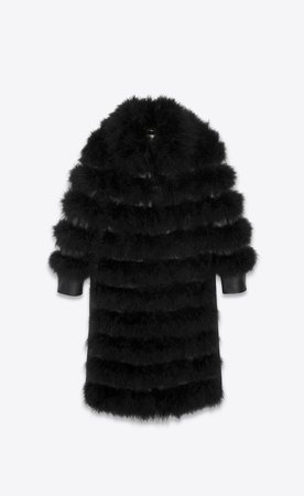 Saint Laurent, LONG COAT IN SHEEPSKIN AND FEATHERS