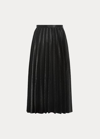 Anisa Bead-Embellished Satin Skirt