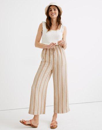 Smocked Huston Pull-On Crop Pants in Stripe
