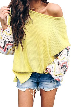 LACOZY Women's Sexy Off Shoulder Tops Long Sleeve Loose Oversized Pullover Sweater Knit Jumper Green Small at Amazon Women's Clothing store