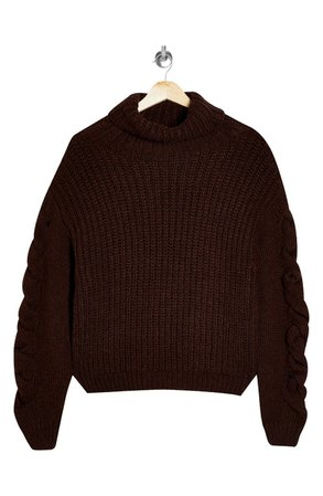 Topshop Cable Knit Sleeve Turtleneck Sweater | brown