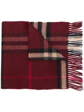 Red Burberry The Classic Check Cashmere Scarf For Men | Farfetch.com