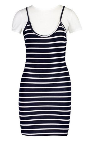 2 In 1 T-Shirt & Striped Slip Dress | Boohoo black