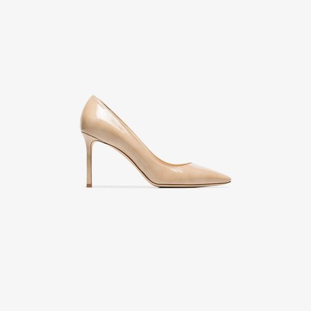 nude Romy 85 patent leather pumps