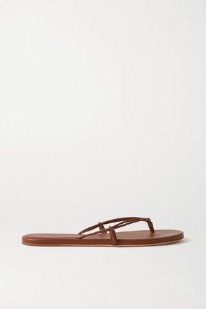 Leather Flip Flops - Tan