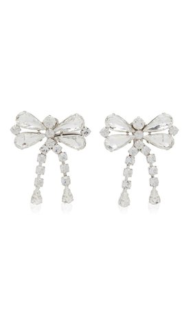 Crystal-Embellished Silver-Tone Bow Earrings By Alessandra Rich | Moda Operandi