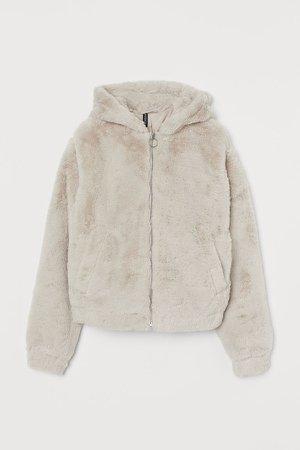 Hooded Faux Fur Jacket - Beige