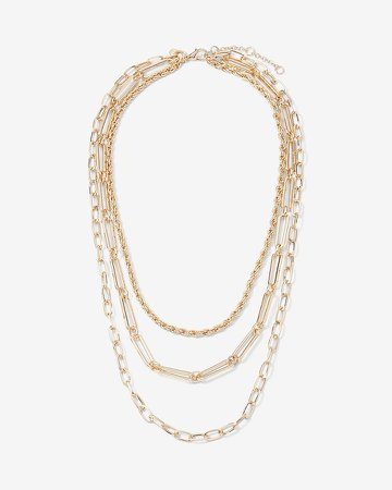 Three Row Rope Oval & Paperclip Chain Necklace