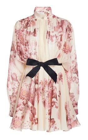 Belted Floral-Print Silk Georgette Mini Shirt Dress By Giambattista Valli | Moda Operandi