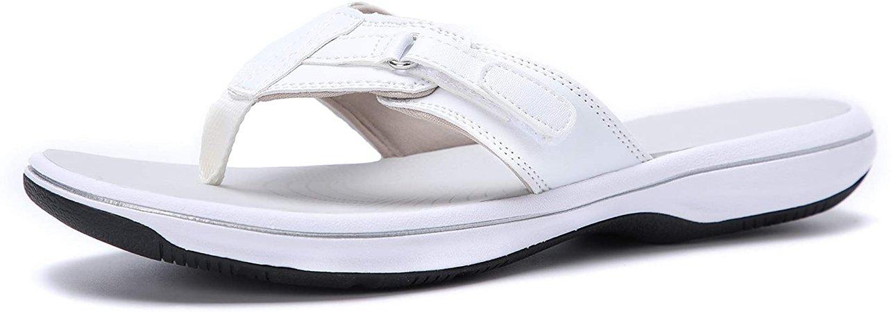 Amazon.com | DOGDAN Women's Flip Flops Thong Cushion Sandals Toepost Slippers White 5 | Flip-Flops