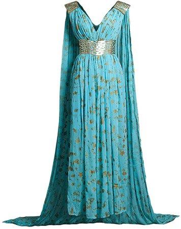 Amazon.com: CosFantasy Daenerys Targaryen Cosplay Blue Chiffon Dress with Belt (Type A, Large): Clothing