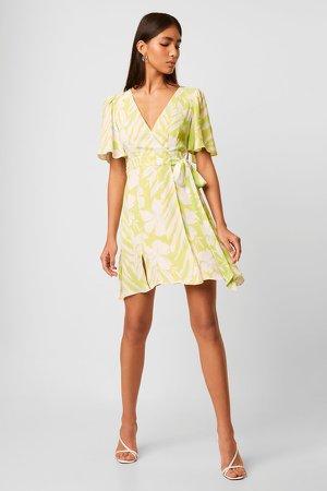 Diah Crepe Faux Wrap Dress