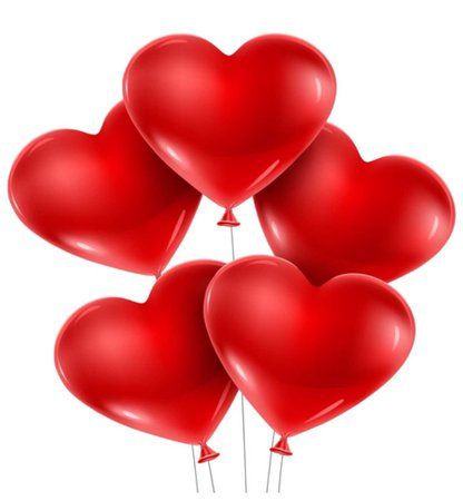 balloons red hearts