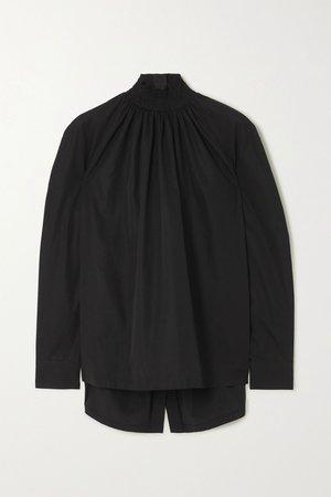 Black Shirred cotton-poplin blouse | Prada | NET-A-PORTER