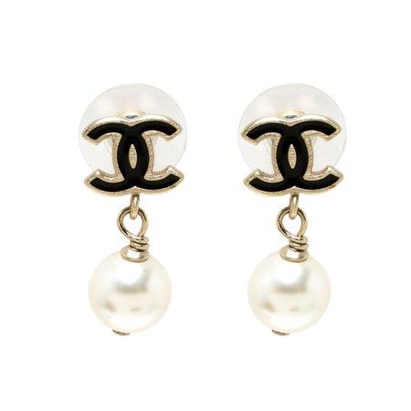Chanel CC Faux Pearl Gold Tone Drop Earrings