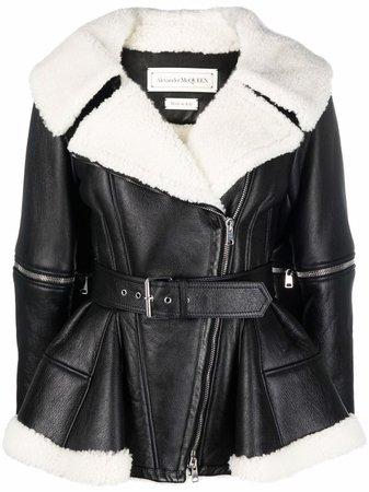 Alexander McQueen shearling-panelled biker jacket - FARFETCH
