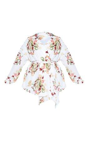 Plus White Floral Print Woven Tie Waist Blouse | PrettyLittleThing USA