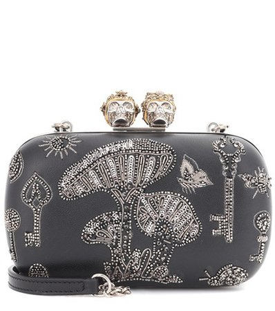 Queen and King embroidered box clutch