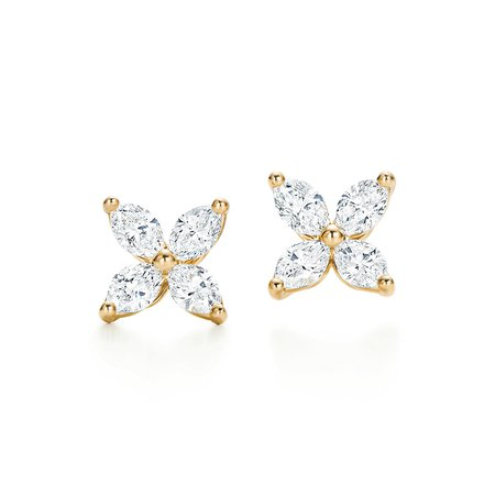 Tiffany & Co, Tiffany Victoria, small earrings in 18k gold with diamonds