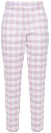Cropped Gingham Twill Tapered Pants
