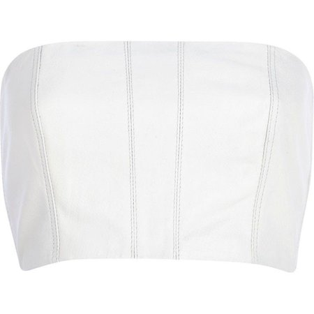 White Leather Snake Textured Bandeau Crop Top