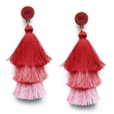 Amazon.com: Women's Grey Layered Tassel Earrings Dangle Bohemian Long Fringe Earring Statement Fashion Tassel Drop Earrings: Jewelry