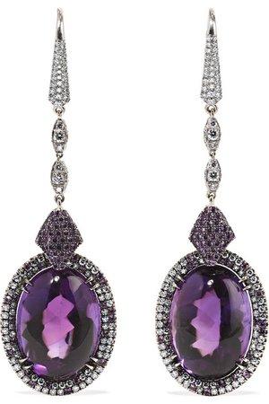 Martin Katz | 18-karat white gold, amethyst and diamond earrings | NET-A-PORTER.COM