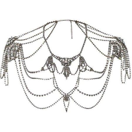 River Island Gunmetal tone gemstone jewelled cape ($78)