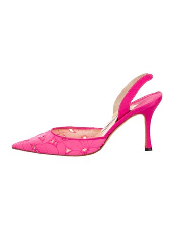 MANOLO BLAHNIK - Satin Pointed-Toe Pumps